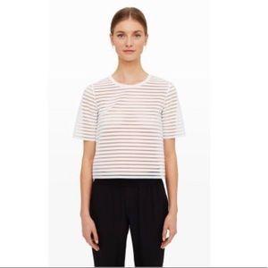 Club Monaco White Sheer Striped Shirt